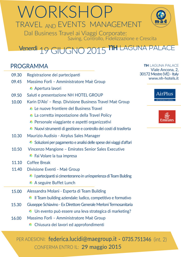 Programma Workshop 19 Giugno 2015 h